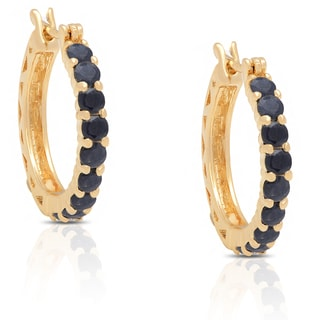 Dolce Giavonna Gold Over Sterling Silver Gemstone Hoop Earrings in Red Bow Gift Box
