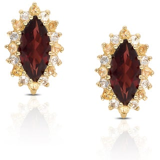 Dolce Giavonna Gold Over Sterling Silver Gemstone Stud Earrings