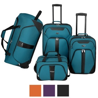 U.S. Traveler Oakton 4-Piece Colorful Lightweight Luggage Set