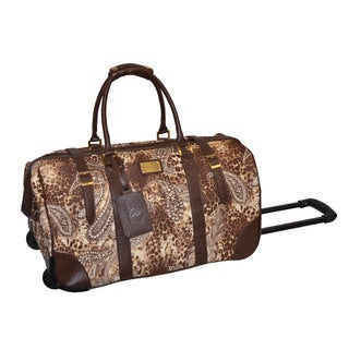 Adrienne Vittadini Brown Leopard Paisley 22-inch Rolling Duffel