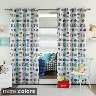 Monster Print Room Darkening Grommet Curtain Panel Pair