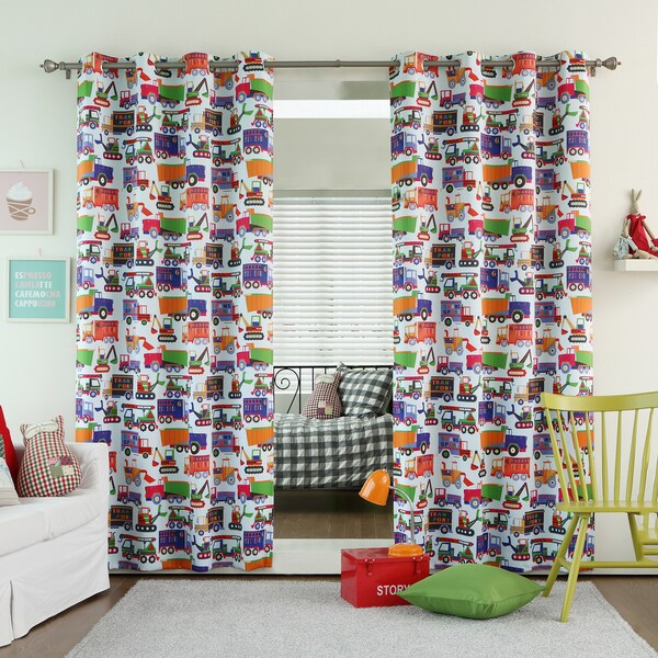 Lights Out Truck Print Room Darkening Grommet Curtain Panel Pair