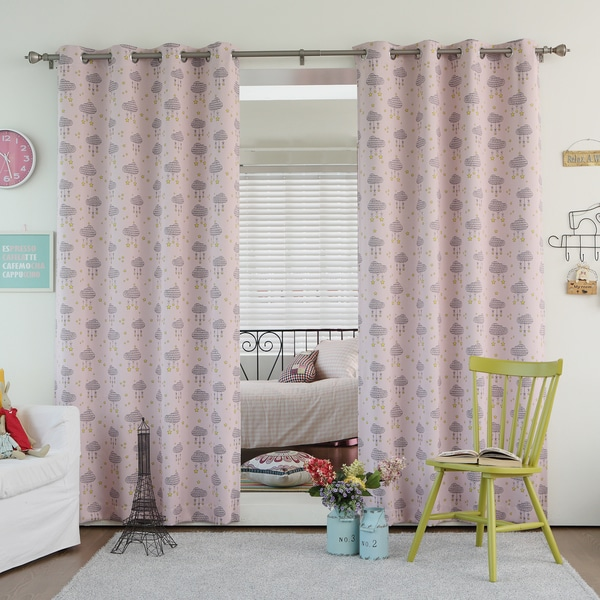 Lights Out Cloud Print Room Darkening Blackout Curtain Panel Pair