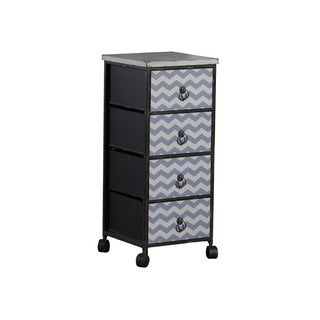 Linon Chevron Wheel Cabinet