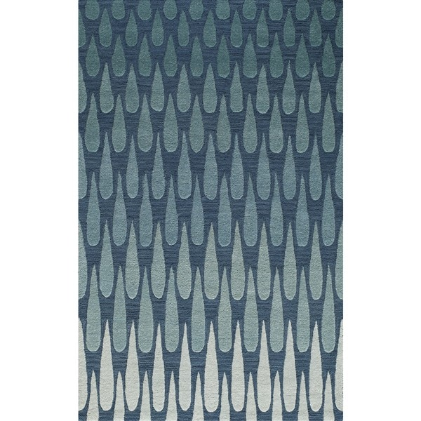 Saronic Cascade Blue Hand-Tufted Wool Rug (2' x 3')