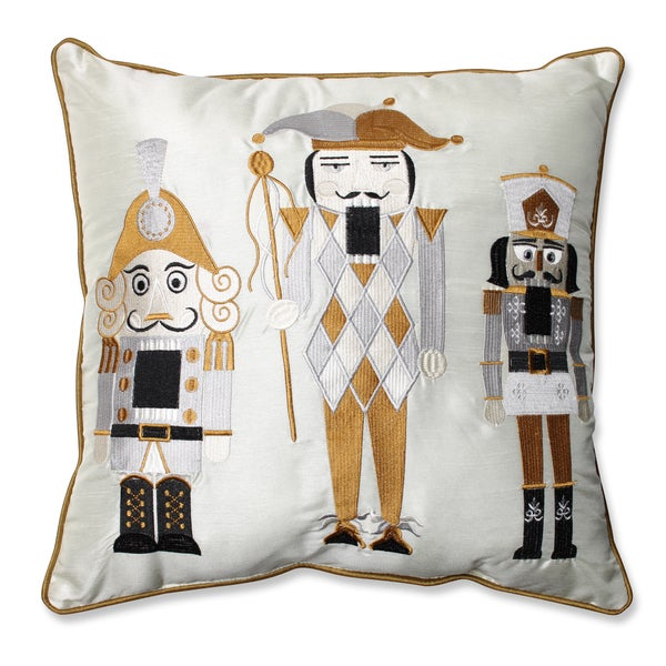 Pillow Perfect Holiday Embroidered Nutcrackers Gold/Silver 16.5-inch Throw Pillow