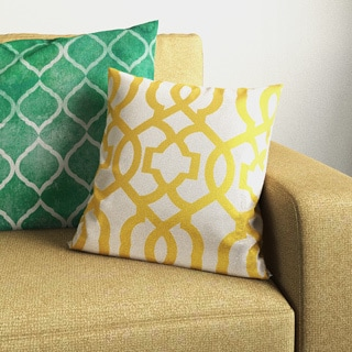Pillow Perfect Geometric Gold/Linen 16.5-inch Throw Pillow