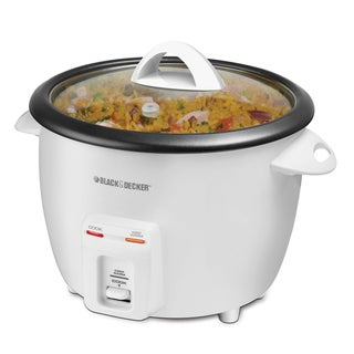 Black and Decker 14-cup Rice Cooker Stainless Steel White