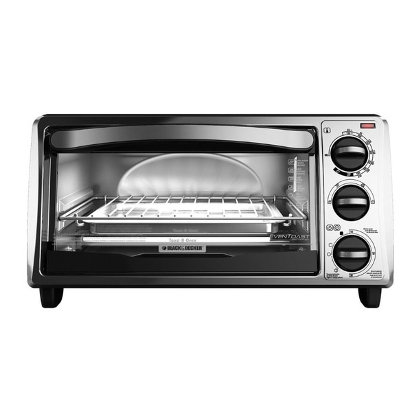Black and Decker Black 4-slice Bezel Toaster Oven - 16621473 ...