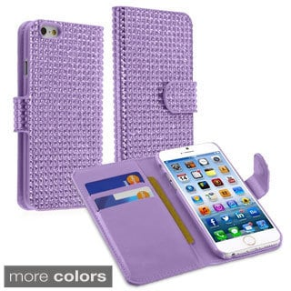 INSTEN Card Wallet Diamante Leather Case for Apple iPhone 6 4.7-inch