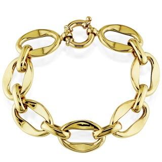 Miadora 18k Yellow Gold Men's Flat Link Bracelet