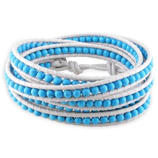 M by Miadora Leather and Silver Turquoise Wrap Bracelet