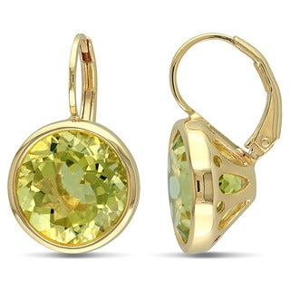 Miadora Yellow Plated Silver 11 1/2ct TGW Lemon Quartz Dangle Earrings