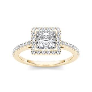 De Couer 14k Yellow Gold 1 1/4ct TDW Diamond Princess-cut Engagement Ring (H-I, I2)