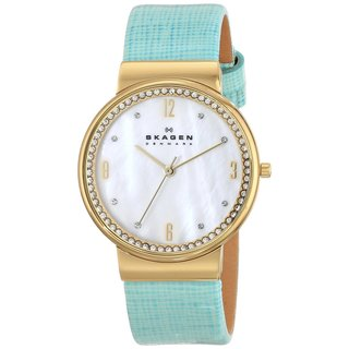 Skagen Women's SKW2166 Three Hand Blue Leather Watch