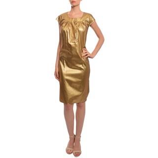 Vera Wang Women's Metallic Gold Evening Dress