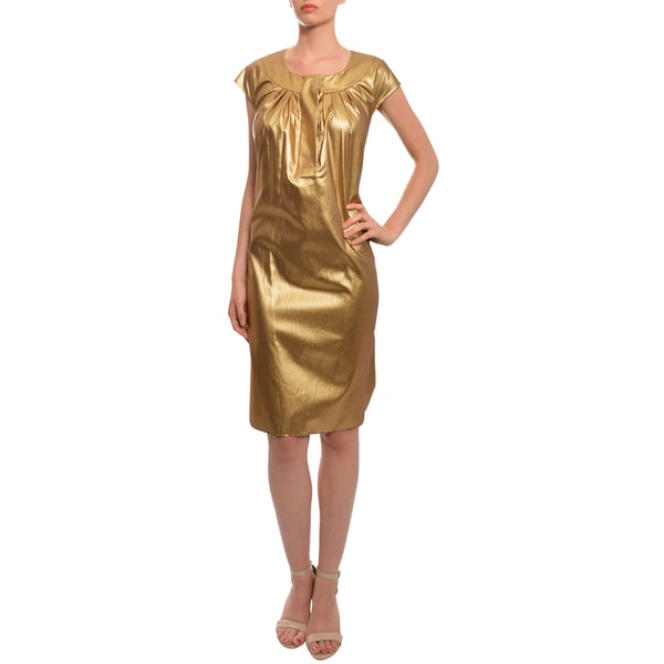 Vera Wang Women's Metallic Gold Evening Dress