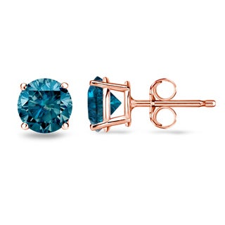 Auriya 14k Rose Gold 1/2ct to 2ct TDW 4-Prong Blue Diamond Stud Earrings (I1-I2)