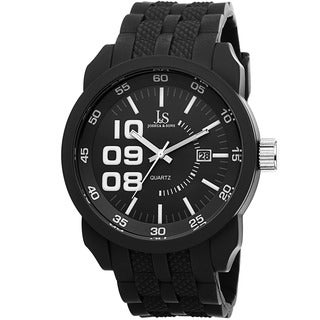 Joshua & Sons Men's Quartz Date Silicone Strap Watch