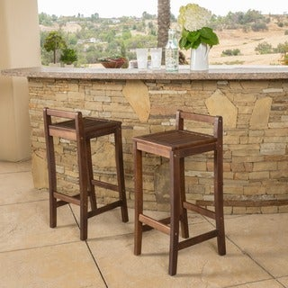 Christopher Knight Home Riviera Acacia Wood Bar Stool (Set of 2)