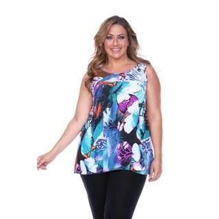 White Mark Women's Plus Size Butterfly Print Tank Top