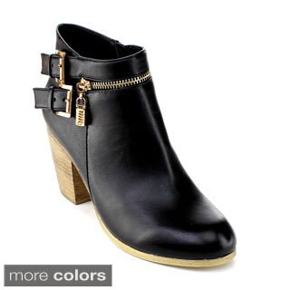 DBDK Women's 'Adohia-1' Buckle Strap Chunky-heel Booties