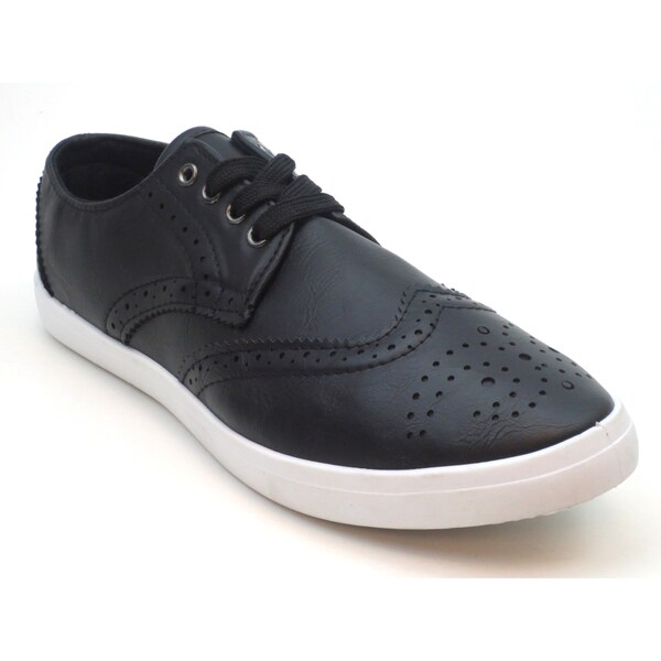 Blue Men's 'M-Tronk' Black Leatherette Lace-up Sneakers