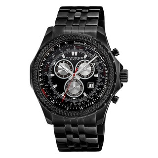 Akribos XXIV Men's Large Swiss Quartz Chronograph Stainless Steel Bracelet Watch