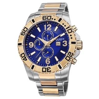 Akribos XXIV Men's Quartz Stainless Steel Multifunction Dual-Time Two-Tone Bracelet Watch