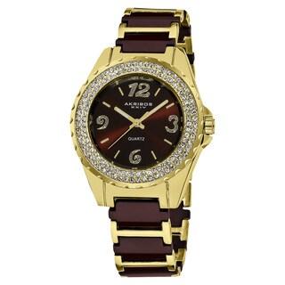 Akribos XXIV Women's Crystal-Accented Quartz Ceramic Bracelet Watch