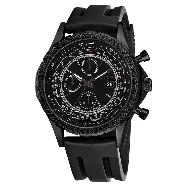 Akribos XXIV Men's Multifunction Swiss Quartz Rubber Black Strap Watch 13972238