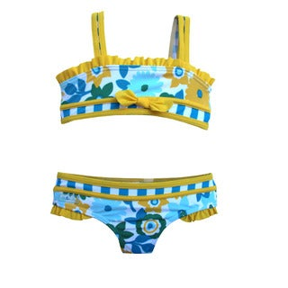 Azul Swimwear 'Dear Daisy' Girls Floral and Striped Bandeau Bikini Set