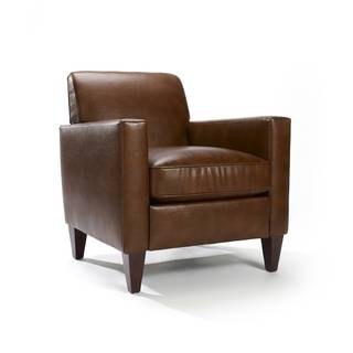 Rolly Saddle Brown Leather Blend Arm Chair