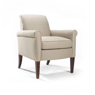 Rothes 'Haze' Beige and Espresso Arm Chair