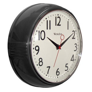 WestClox 9.5-inch Retro Black Deep Wall Clock