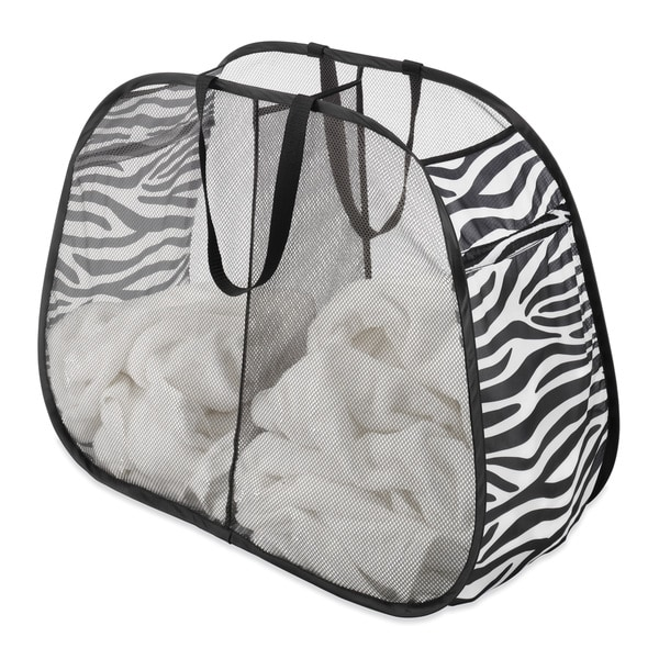 Whitmor Zebra Print Pop & Fold Double Hamper