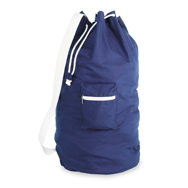 Whitmor Navy Drawstring Laundry Duffle Carrying Case