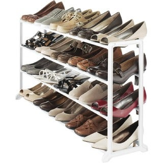 Whitmor White Resin 20 Pair Shoe Rack