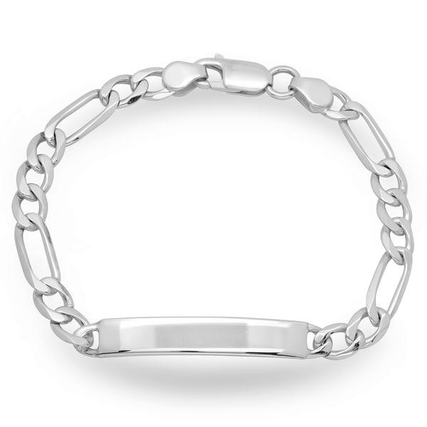 Sterling Essentials Figaro Chain ID Bracelet