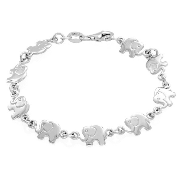 Sterling Essentials Sterling Silver Childrens Elephant Link Bracelet