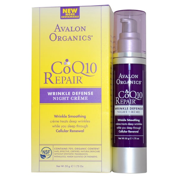 Avalon Organics CoQ10 Repair Wrinkle Defense Night 1.75-ounce Cream