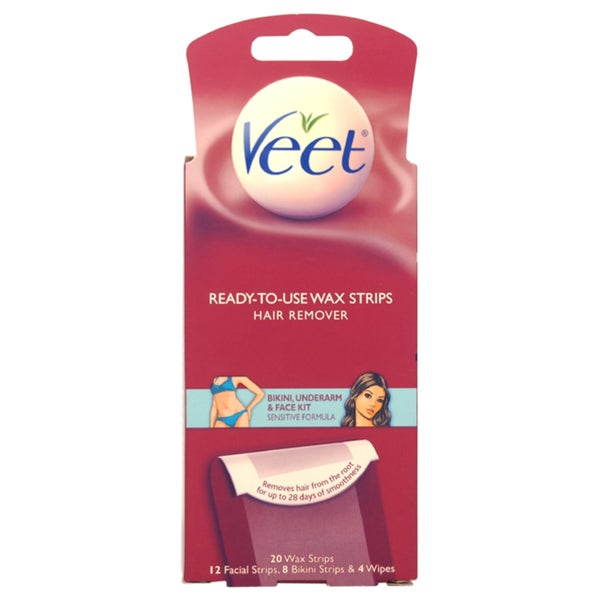 Veet Ready-To-Use Wax Strips Bikini-Underarm and Face Kit 3-piece Kit
