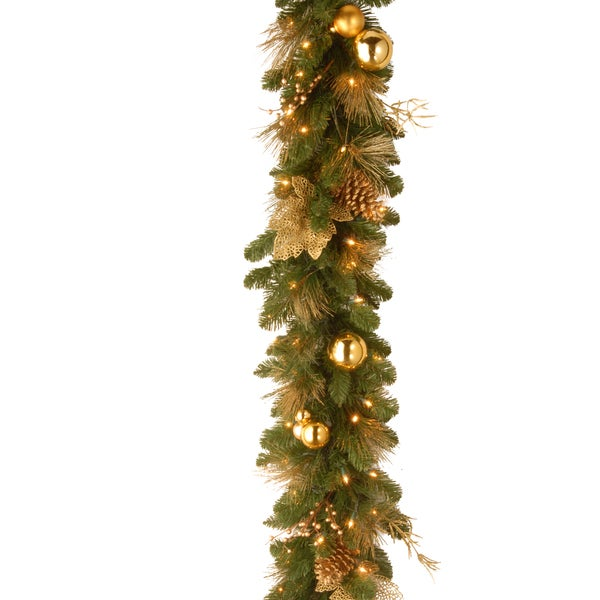 Elegance Garland with Berries Pine Cones and Gold Leaves and 50 Warm White LED Lights