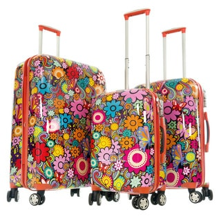 Gabbiano Orange Floral Expandable 8-wheel Hardside 3-piece Spinner Luggage Set
