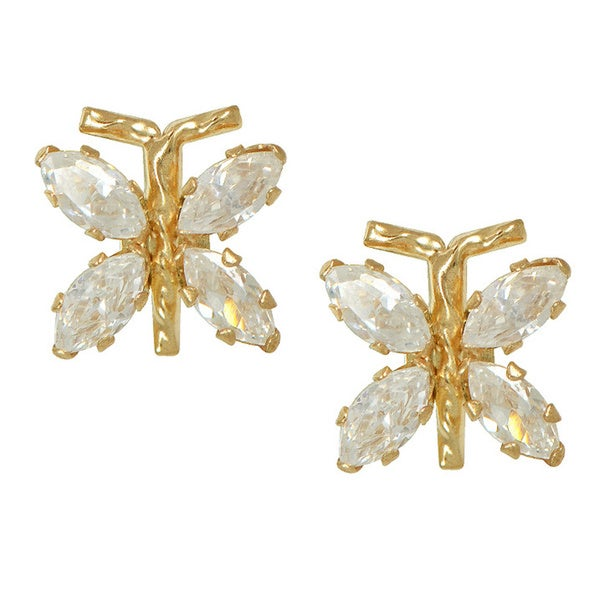 10k Yellow Gold Cubic Zirconia Butterfly High Polish Stud Earrings