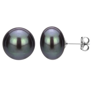 DaVonna Sterling Silver Black Freshwater Pearl Stud Earring (11-12 mm)