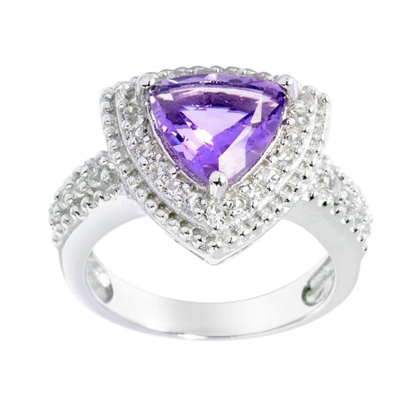 Sterling Silver Trillion-cut Amethyst White Topaz Halo Ring