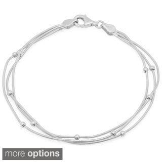 Sterling Essentials Triple Strand Snake Bracelet
