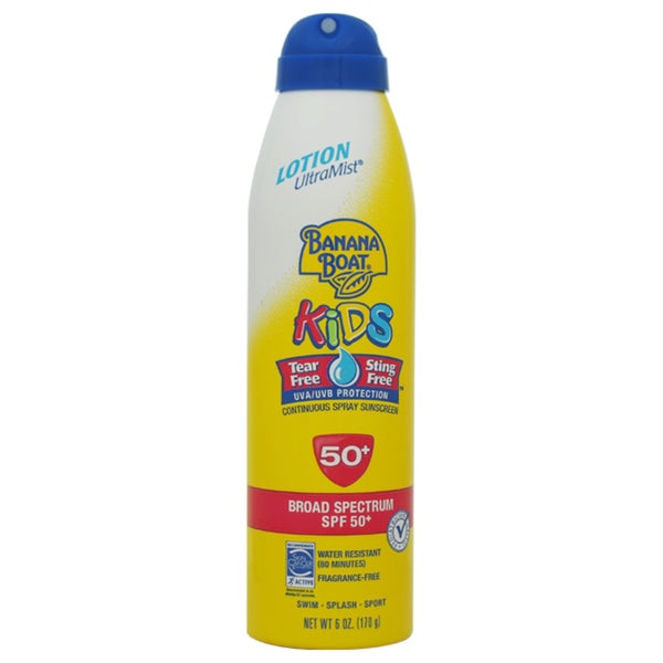 Banana Boat UltraMist Kids Tear-Free Sting-Free Continuous Sunscreen SPF 50 6-ounce Lotion Spray