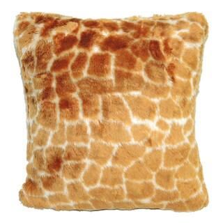 Square Faux-Fur Giraffe Print Decorative Throw Pillow